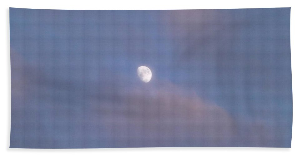 Moon Hand Towel featuring the photograph Moon At Sunset by Jussta Jussta