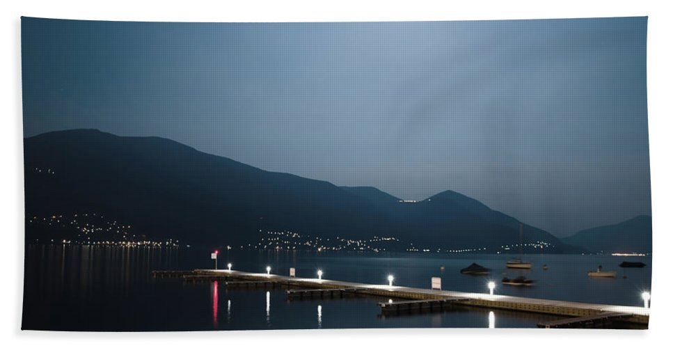 Moon Bath Sheet featuring the photograph Moon Light And A Port by Mats Silvan