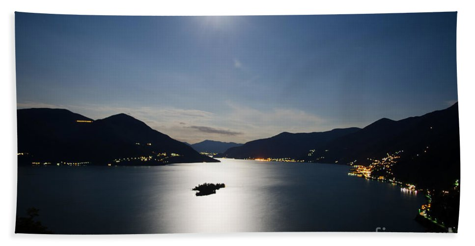 Moon Hand Towel featuring the photograph Moon Light Reflected Over An Alpine Lake by Mats Silvan