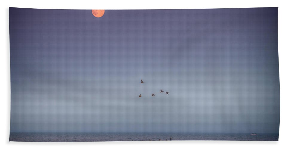 Moon Hand Towel featuring the photograph Moon Over Lake Mille Lacs by Paul Freidlund