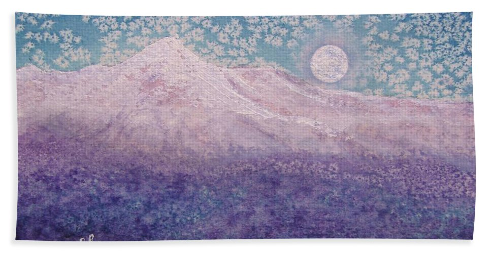 Mountain Hand Towel featuring the painting Moon Over Snowy Peaks by Margaret Bobb
