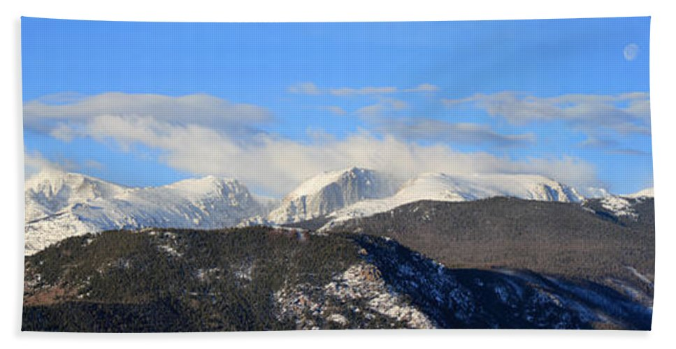 Panorama Hand Towel featuring the photograph Moon Over The Rockies - Panorama by Shane Bechler