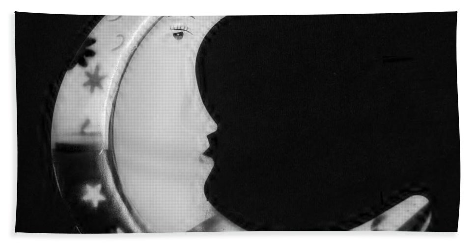 Modern Hand Towel featuring the photograph Moon Phase In Black And White by Rob Hans