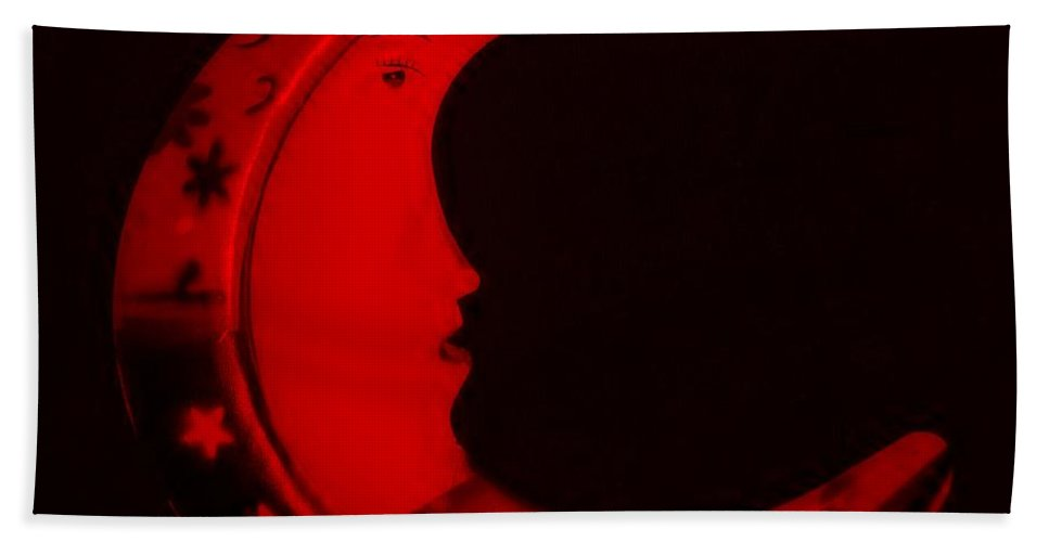 Modern Hand Towel featuring the photograph Moon Phase In Blood Red by Rob Hans