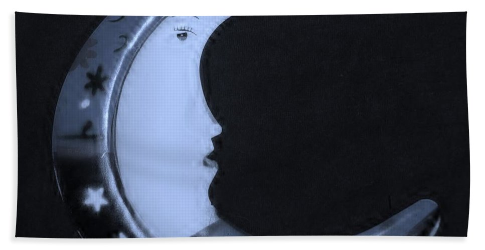 Modern Hand Towel featuring the photograph Moon Phase In Cyan by Rob Hans
