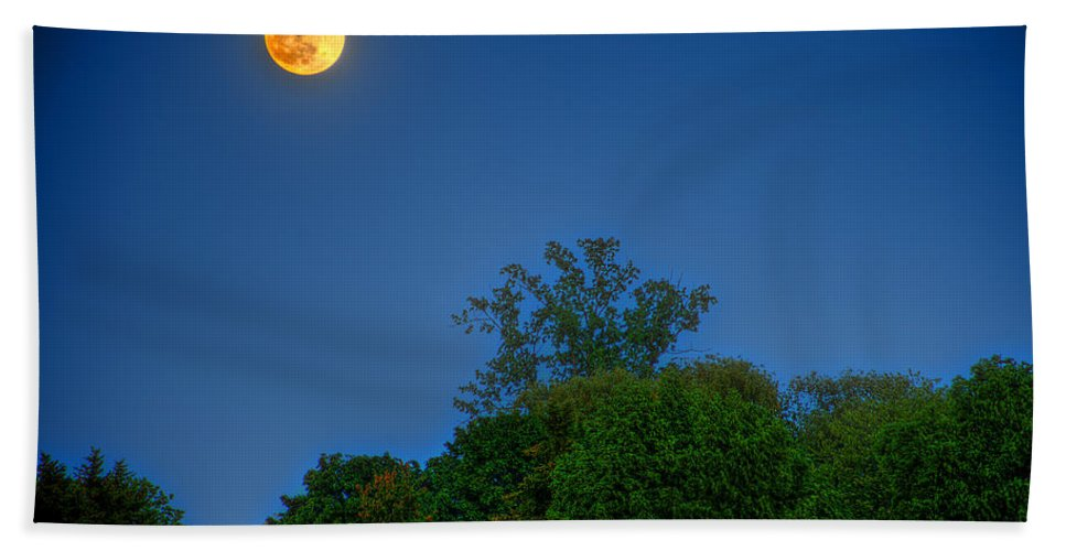 Moon Hand Towel featuring the photograph Moon Rising At The Lake House 05/24/13 Oakland County Mi by A And N Art