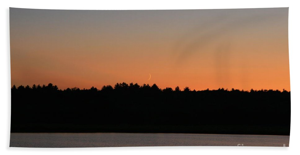 Sunset Bath Sheet featuring the photograph Moon Rising  by Neal Eslinger