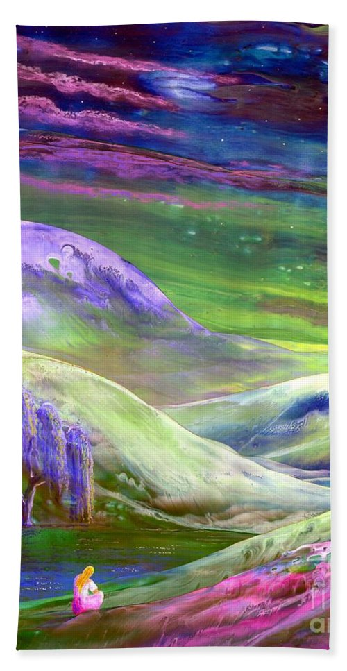 Spring Bath Sheet featuring the painting Moon Shadow by Jane Small