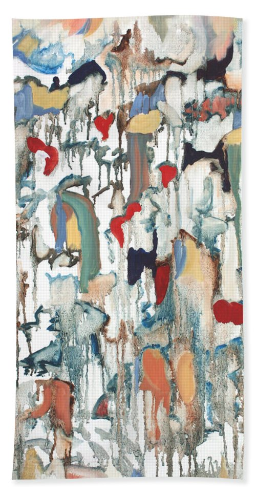Moon Drops Hand Towel featuring the painting Moondrops by Pamela Parsons