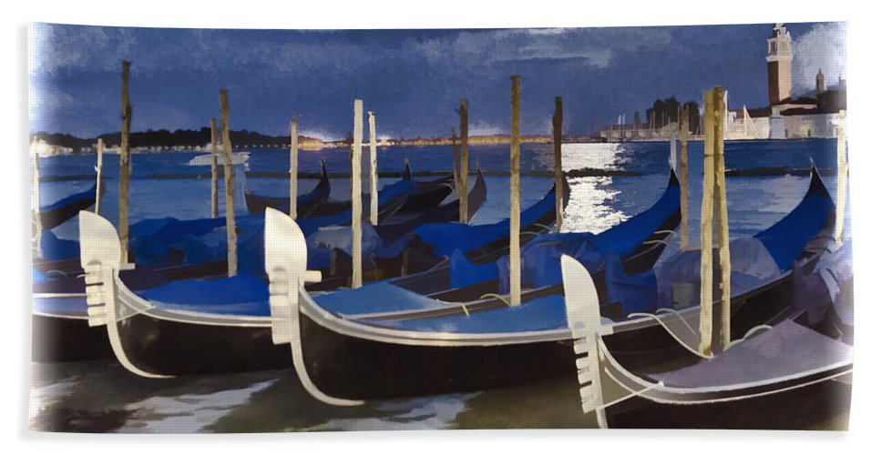Closed For The Day Bath Sheet featuring the photograph Moonlight Gondolas - Venice by Jon Berghoff