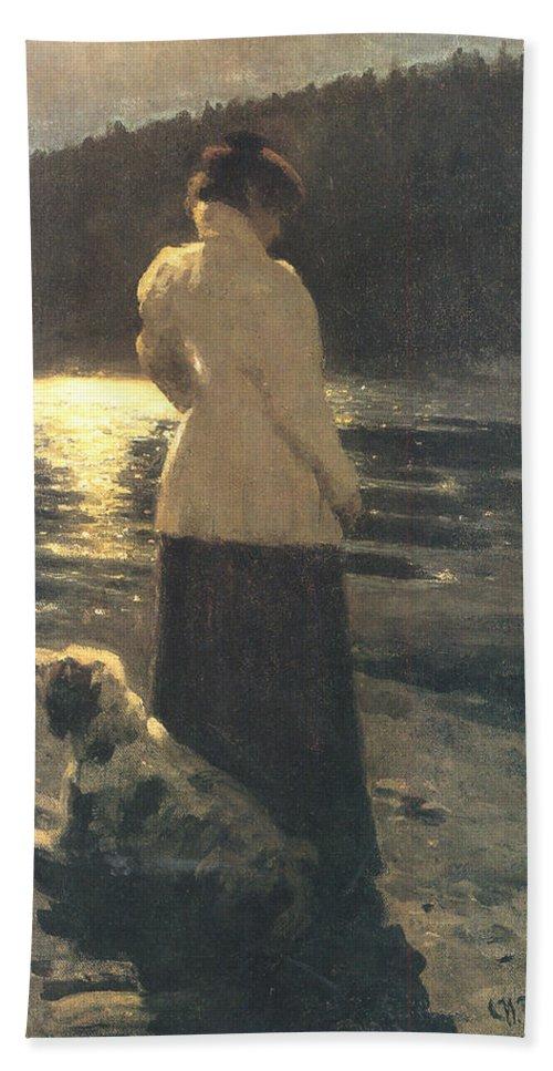 Moonlight Hand Towel featuring the digital art Moonlight by Ilya Repin
