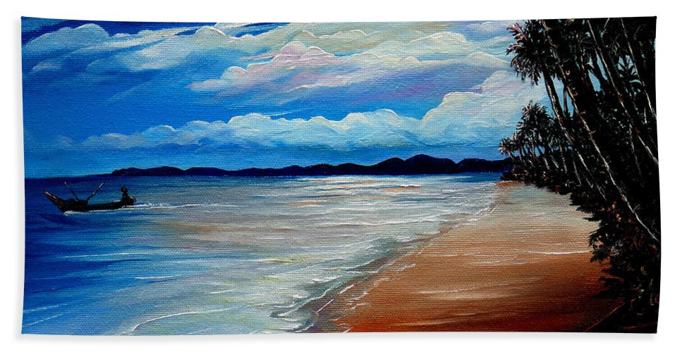 Moonlight Bath Sheet featuring the painting Moonlight In Tobago by Karin Dawn Kelshall- Best