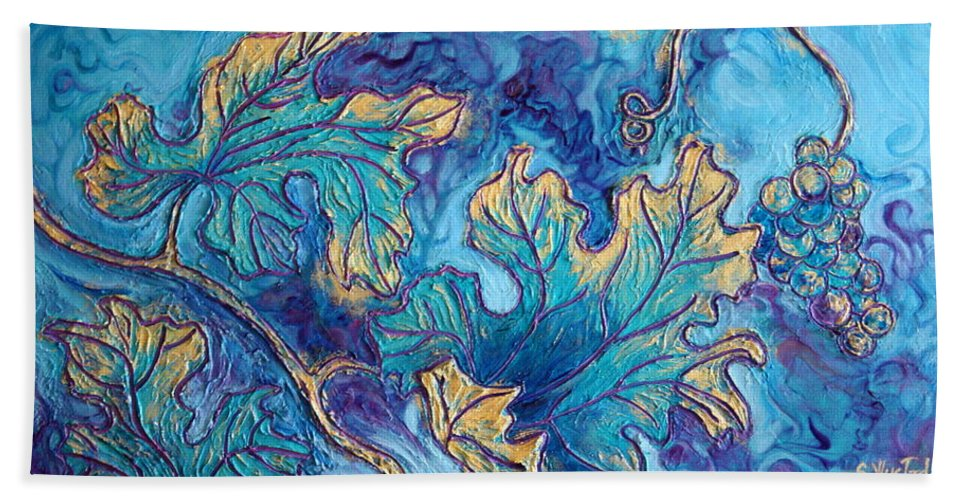 Moonlight Hand Towel featuring the painting Moonlight On The Vine by Sandi Whetzel