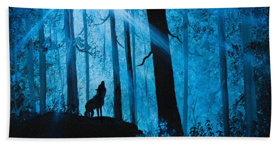 Landscape Hand Towel featuring the painting Moonlight Serenade by Chris Steele