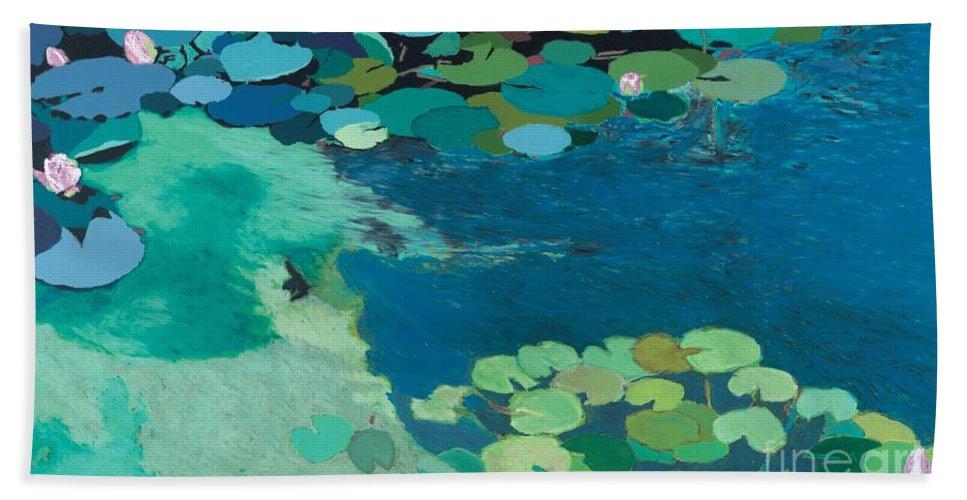 Landscape Bath Sheet featuring the painting Moonlit Shadows by Allan P Friedlander