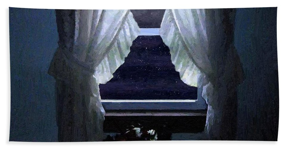 Window Bath Sheet featuring the painting Moonlit Window by RC DeWinter