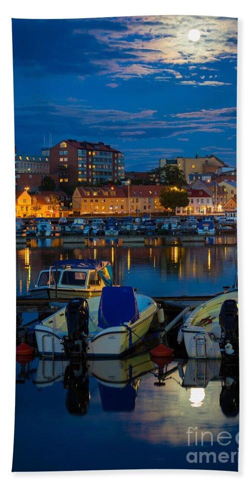 Blekinge Bath Sheet featuring the photograph Moonrise In Karlskrona by Inge Johnsson