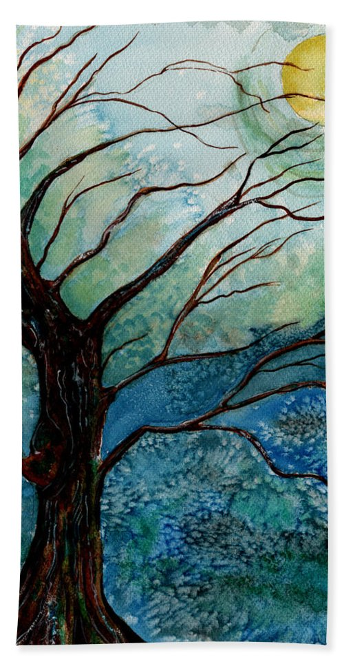 Landscape Bath Towel featuring the painting Moonrise In The Wild Night by Brenda Owen