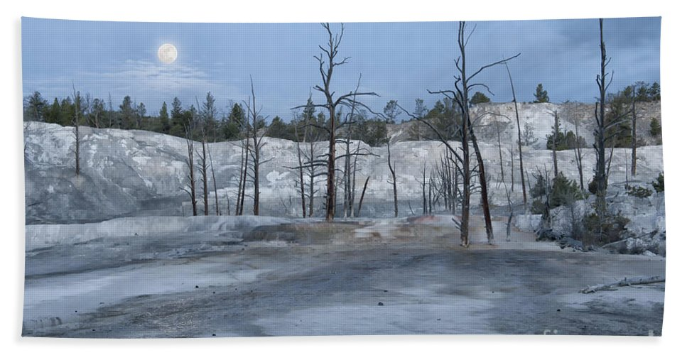 Yellowstone Bath Sheet featuring the photograph Moonset At Mammoth Terrace-yellowstone by Sandra Bronstein
