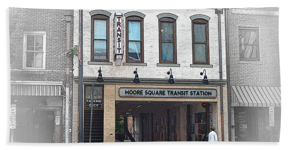 Wright Hand Towel featuring the photograph Moore Square Transit Station by Paulette B Wright