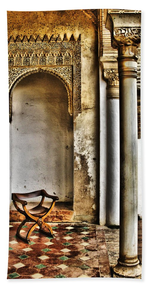 Chair Hand Towel featuring the digital art Moorish Chair And Alcove At The Alhambra by Greg Matchick