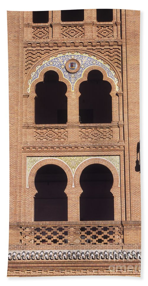 Spain Bath Sheet featuring the photograph Moorish Windows Madrid by James Brunker