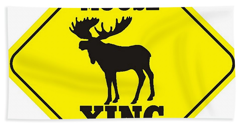 Moose Crossing Sign Hand Towel featuring the digital art Moose Crossing Sign by Marvin Blaine