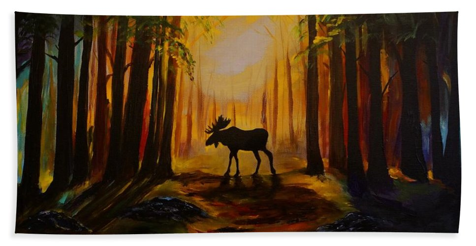 Moose Bath Sheet featuring the painting Moose Hideout by Leslie Allen