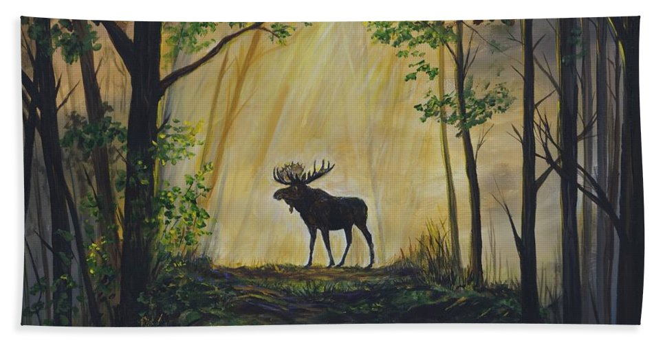 Hand Towel featuring the painting Moose Magnificent by Leslie Allen