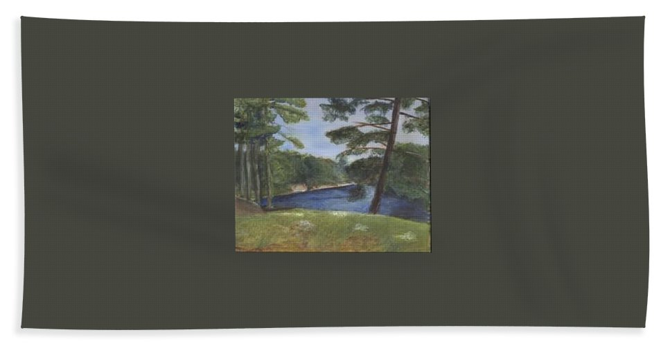 Moose River Bath Towel featuring the painting Moose River by Sheila Mashaw