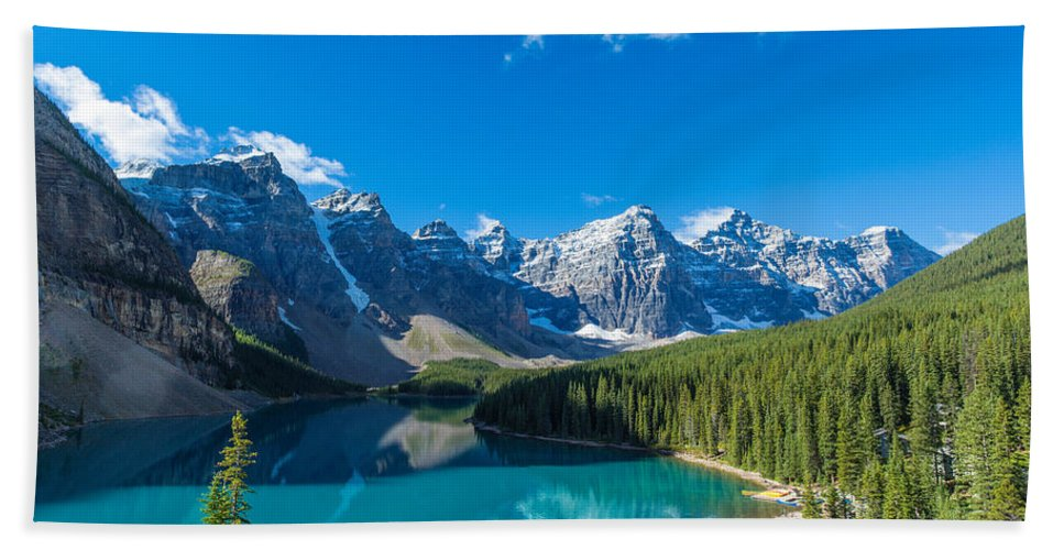 Photography Bath Towel featuring the photograph Moraine Lake At Banff National Park by Panoramic Images