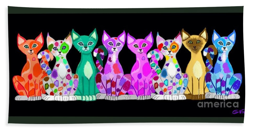 Colorful Cat Art Hand Towel featuring the painting More Colorful Kitties by Nick Gustafson