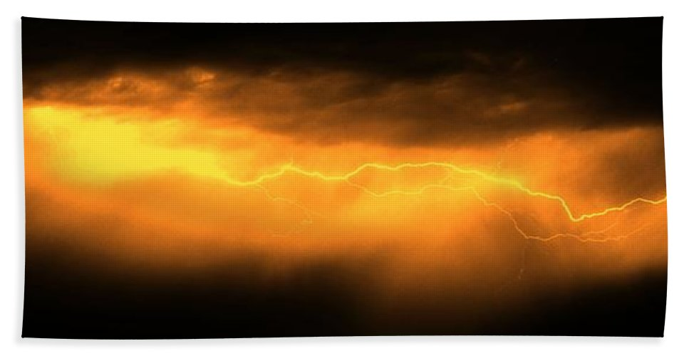 Stormscape Bath Sheet featuring the photograph More Late Night Servere Nebraska Storms by NebraskaSC