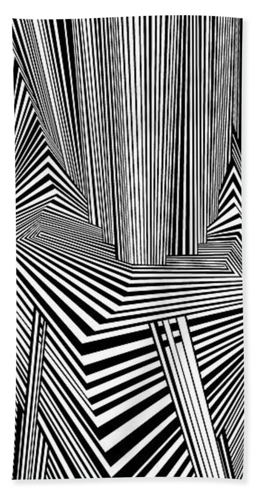 Dynamic Black And White Bath Sheet featuring the painting More Than Conspiracies by Douglas Christian Larsen