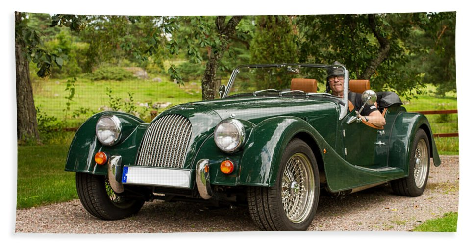 Morgan Roadster Bath Sheet featuring the photograph Morgan Roadster by Torbjorn Swenelius