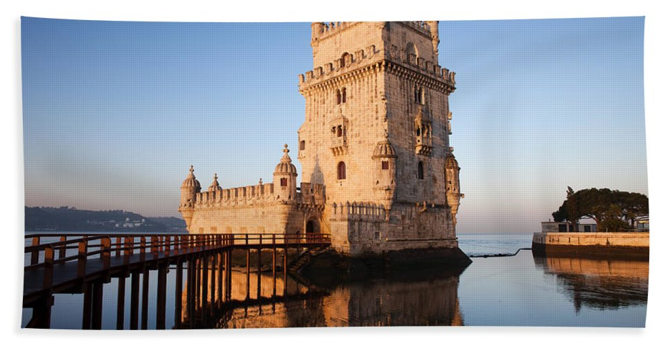 Lisbon Bath Sheet featuring the photograph Morning At Belem Tower In Lisbon by Artur Bogacki