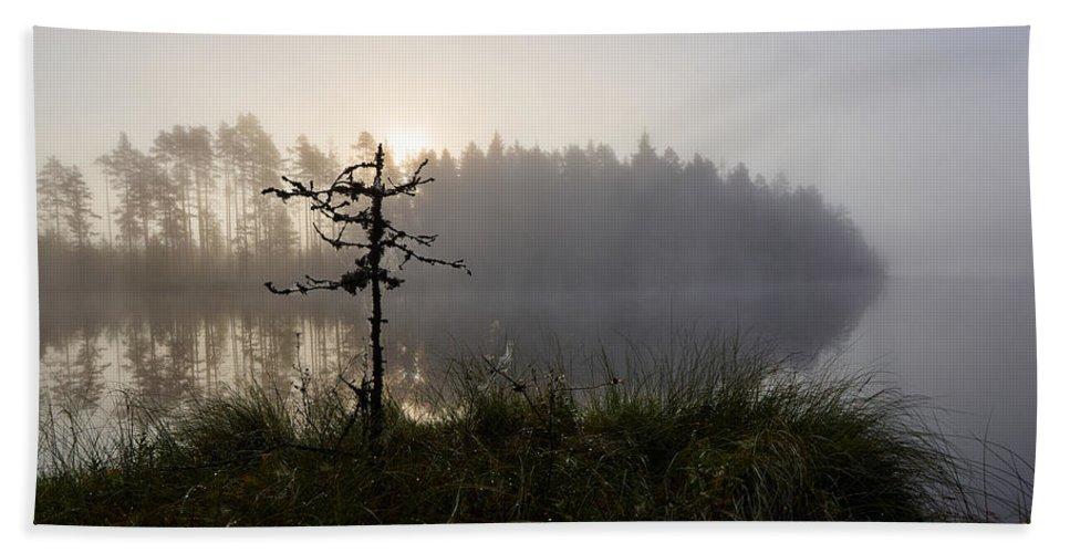 Lehto Bath Sheet featuring the photograph Morning At Pitkajarvi by Jouko Lehto
