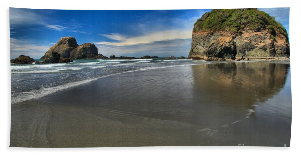 Trinidad California Bath Sheet featuring the photograph Morning Beach Reflections by Adam Jewell