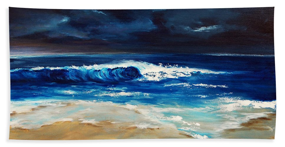 Ocean Bath Sheet featuring the painting Morning Breakthrough II by Jennifer Hickman