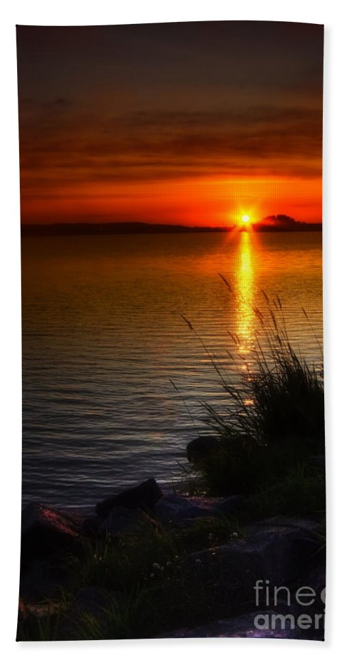 Art Bath Towel featuring the photograph Morning By The Shore by Veikko Suikkanen