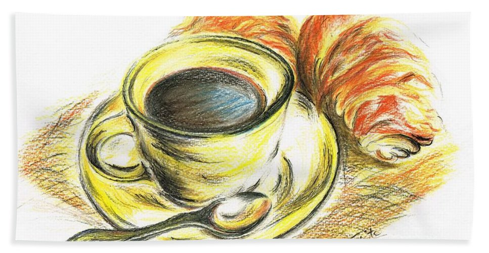 Teresa White Hand Towel featuring the drawing Morning Coffee- With Croissants by Teresa White