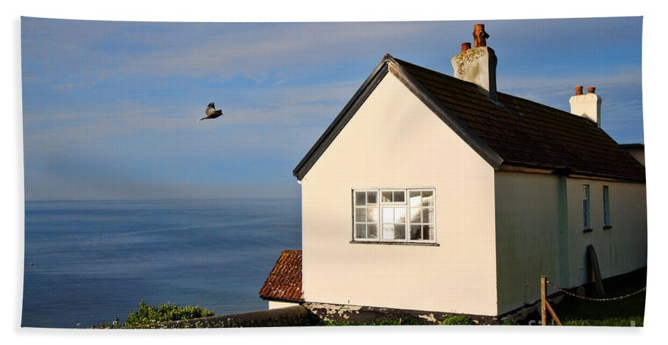 Cottage Bath Sheet featuring the photograph Morning Cottage At Lyme Regis by Susie Peek