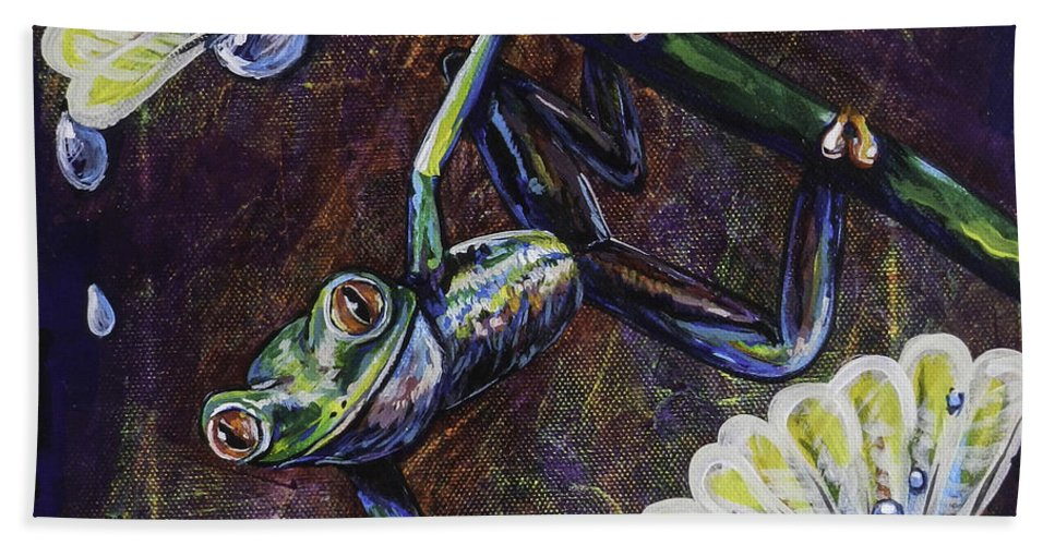 Tree Frog Hand Towel featuring the painting Morning Dew by Lovejoy Creations