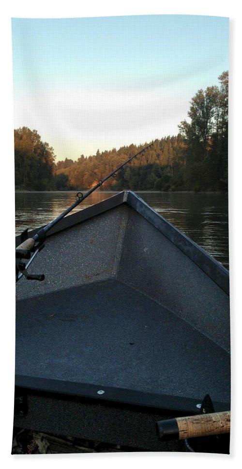 Drift Boat Hand Towel featuring the photograph Morning Drift by Sara Stevenson