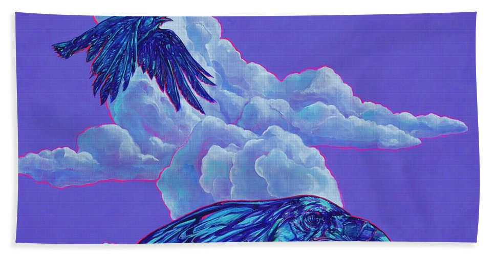 Bird Hand Towel featuring the painting Morning Flight by Derrick Higgins
