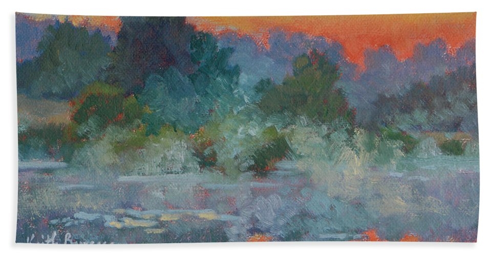Impressionism Hand Towel featuring the painting Morning Fog by Keith Burgess