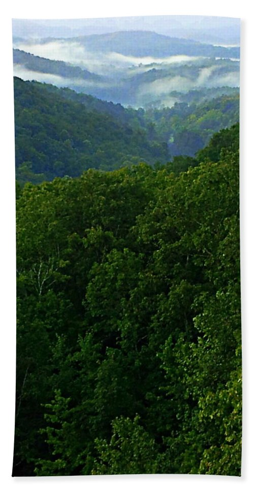 Blue Ridge Mountains Hand Towel featuring the photograph Morning Fog On Blue Ridge by Paul Wilford