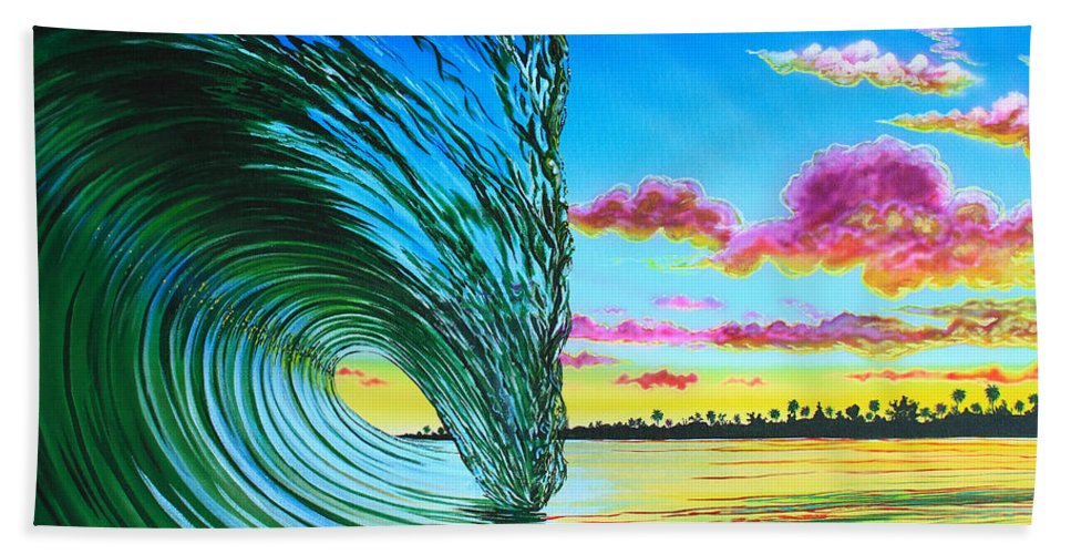 Surfart Bath Sheet featuring the painting Morning Glass by Marty Calabrese