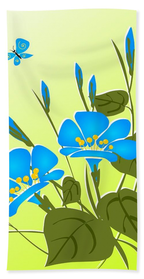 Plant Hand Towel featuring the digital art Morning Glory by Anastasiya Malakhova
