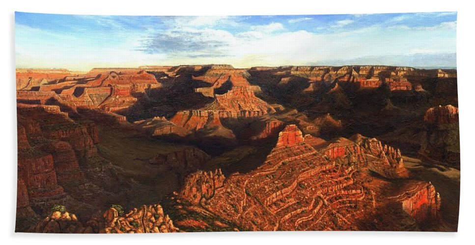 Grand Canyon Bath Sheet featuring the painting Morning Glory - The Grand Canyon From Kaibab Trail by Richard Harpum